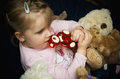 Girl with teddy bears portrait of a cute little her collection of Royalty Free Stock Photography