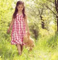 Girl with teddy cute little in pink dress is playing brown in green nature Royalty Free Stock Image