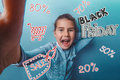 Girl teen Black Friday discount sale shopping Royalty Free Stock Photo