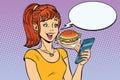 Girl teenager online ordering the Burger fast food