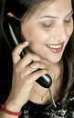 Girl with telephone receiver Royalty Free Stock Photo