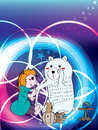 Girl tell polar bear fortune illustration abstract cute Royalty Free Stock Image