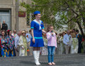 Girl tells verses for veterans vladivostok russia may during festivities devoted to victory day Royalty Free Stock Photo