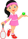 Girl tennis player cartoon Royalty Free Stock Photo