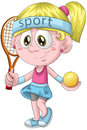 Girl tennis player character cartoon style illustration pretty little blonde wearing in pink and blue dress holding a racket and Royalty Free Stock Images