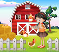 A girl with their farm animals illustration of Royalty Free Stock Images