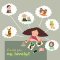 Girl thinks about her relatives vector illustration Stock Images