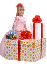 Girl and three gift boxes Royalty Free Stock Photo