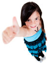 Girl with thumbs up Stock Photos