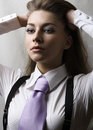 Girl with tie Royalty Free Stock Images