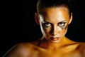 Girl tigress beautiful and dangerous with predatory gaze close up portrait Stock Photography