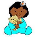 Girl toddler with teddy bear an african american flower in hair sitting and holding a Stock Image