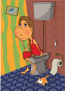 The girl in a toilet. Cartoon Royalty Free Stock Photography