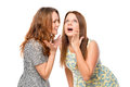The girl told her friend shocking news Royalty Free Stock Photo
