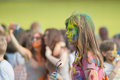 The girl took off her glasses the festival of colors holi in cheboksary chuvash republic russia holiday joy Stock Images
