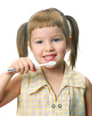 Girl with toothbrush Stock Photo