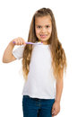 Girl and a Toothbrush Stock Image
