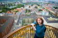 Girl on top of vor frelsers kirke enjoying view copenhagen from Royalty Free Stock Photos