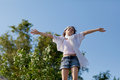 Girl on top of the world Royalty Free Stock Photo