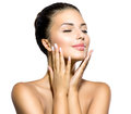 Girl touching her face beauty spa woman portrait beautiful Stock Photo