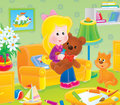 Girl with a toy bear in her nursery Stock Photography