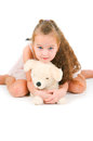 The girl with a toy puppy on white background Stock Images