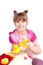Girl and toys Royalty Free Stock Images