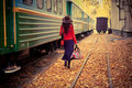 Girl in train Stock Image