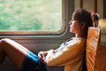 Girl on train Royalty Free Stock Photo