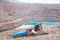Girl training yoga pose outdoor Royalty Free Stock Photo