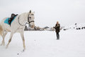 Girl trains the horse in the village in winter Royalty Free Stock Photo