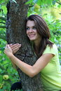 Girl on tree the beautiful the Royalty Free Stock Photo