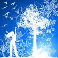 Girl, tree, birds & snowflakes Stock Photography