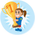 Girl with trophy proud who won first place Royalty Free Stock Photo