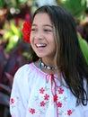 Girl in a tropical garden Royalty Free Stock Photo