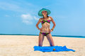 Girl a tropical island the Royalty Free Stock Photo