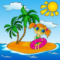 Girl on the tropical island with palms vector illustration Stock Photo