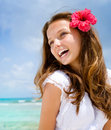 Girl in Tropical Resort Royalty Free Stock Photo