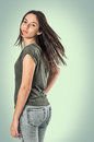 Girl turning head young pretty teenager her and looking back Royalty Free Stock Photography