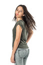 Girl turning head young pretty teenager her and looking back Royalty Free Stock Photo