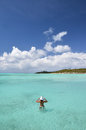Girl in the turqouise water bahamas of atlantic exuma Royalty Free Stock Images