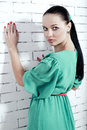 Girl in a turquoise dress beautiful Stock Photography