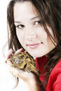 Girl with turtle Stock Photography
