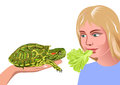 Girl and turtle