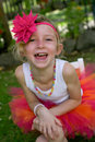 Girl in a tutu little all dressed up colourful Royalty Free Stock Photo