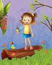 A girl with two birds inside the forest illustration of Royalty Free Stock Photo