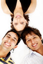 Girl and two men smiling Stock Photography