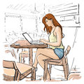 Girl Typing On Laptop Computer, Sketch Young Woman Chatting Online Sitting On Chair Living Room Interior Royalty Free Stock Photo