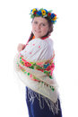 Girl in ukrainian dress young a wreath and a national costume with a scarf on shoulders Royalty Free Stock Photo