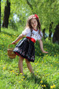 Girl in the ukrainian national costume little Royalty Free Stock Photography